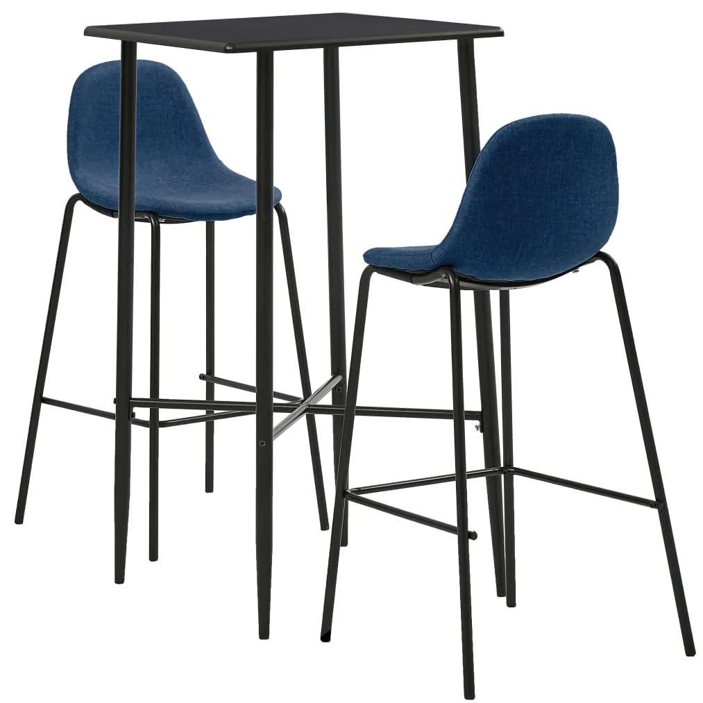 279961 vidaXL Set mobilier de bar, 3 piese, albastru, material textil
