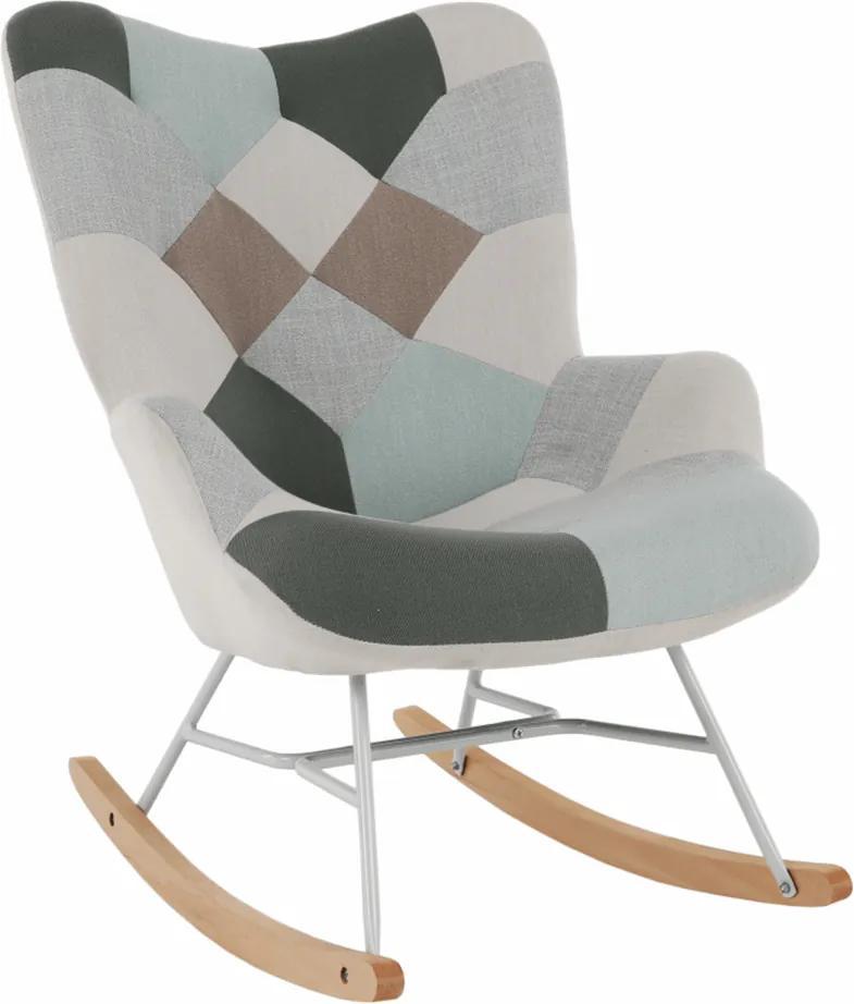 Fotoliu balansoar, patchwork verde-alb/alb/fag, GERON