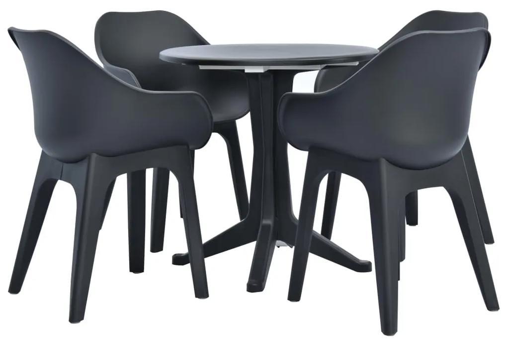 276178 vidaXL Set mobilier de exterior, 5 piese, antracit, plastic