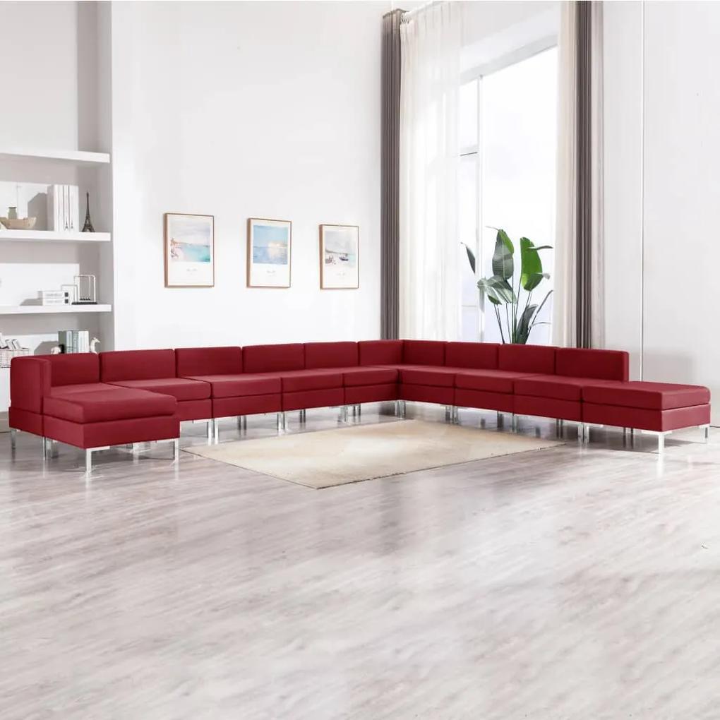3052927 vidaXL Set de canapele, 11 piese, bordo, material textil