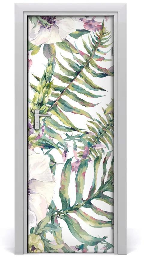 Autocolante pentru usi frunze tropicale