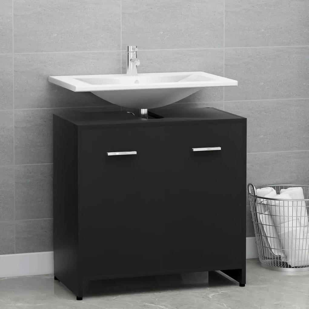 802571 vidaXL Dulap de baie, negru, 60 x 33 x 58 cm, PAL