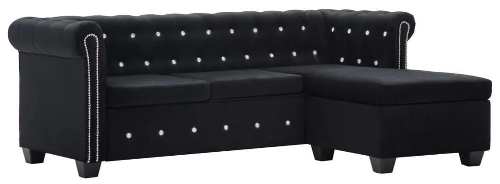 247139 vidaXL Canapea Chesterfield, formă L, catifea, 199x142x72 cm, negru