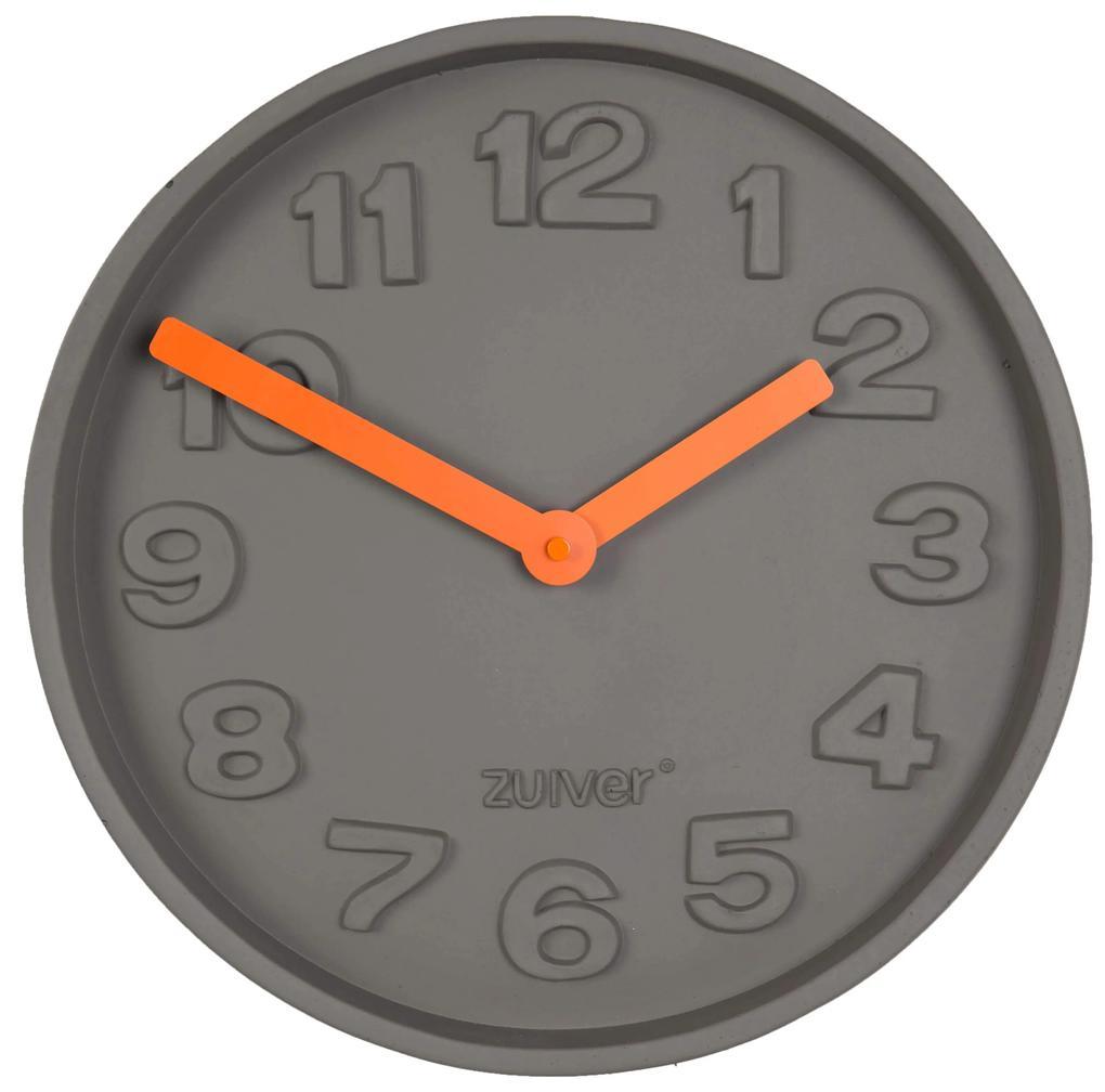 Ceas rotund de perete din ciment Concrete Time Orange