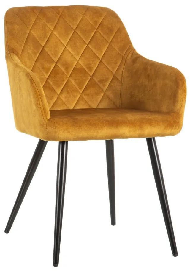 Scaun dining din textil galben Ocre Fabric Chair