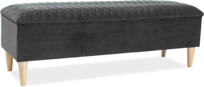 Banca tapitata cu stofa Azurro Dark Grey 129x40x45 cm