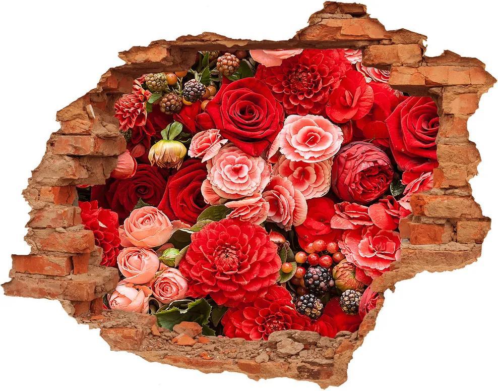 Fototapet 3D gaură în perete Flori roșii