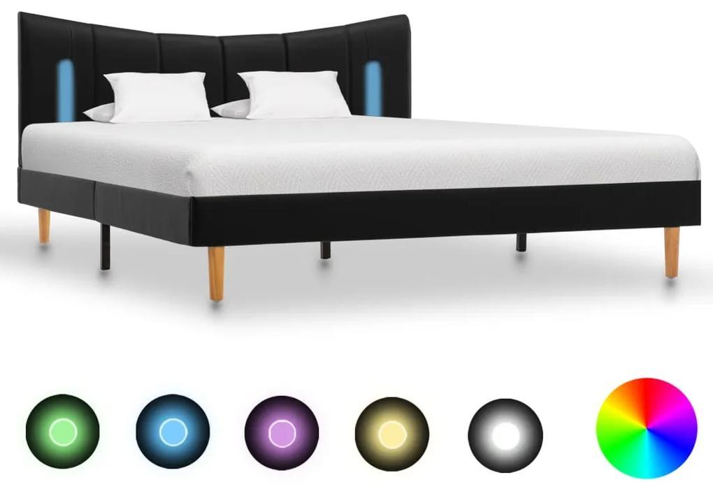 288539 vidaXL Cadru de pat cu LED, negru, 140 x 200 cm, piele artificială