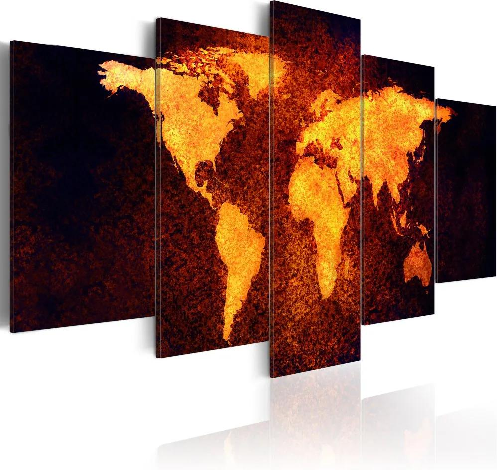 Bimago Tablou - Map of the World - Hot lava 100x50 cm