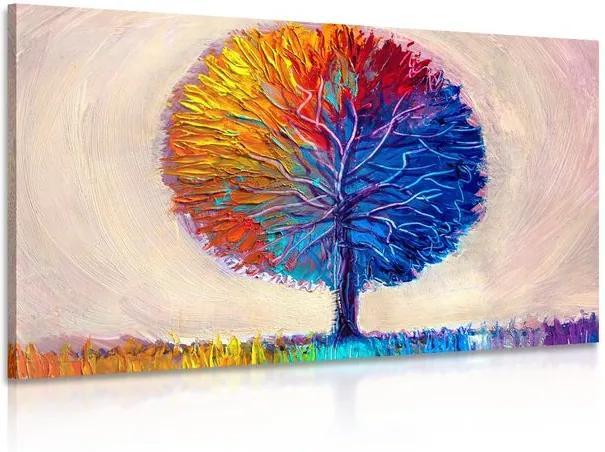 Tablou copac colorat de acuarelă