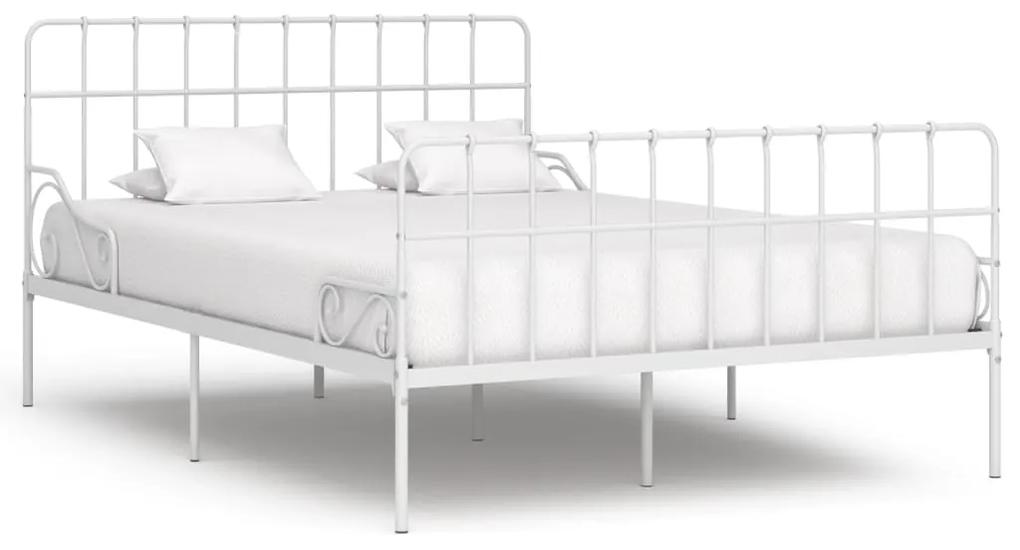 284604 vidaXL Cadru de pat cu bază din șipci, alb, 140 x 200 cm, metal