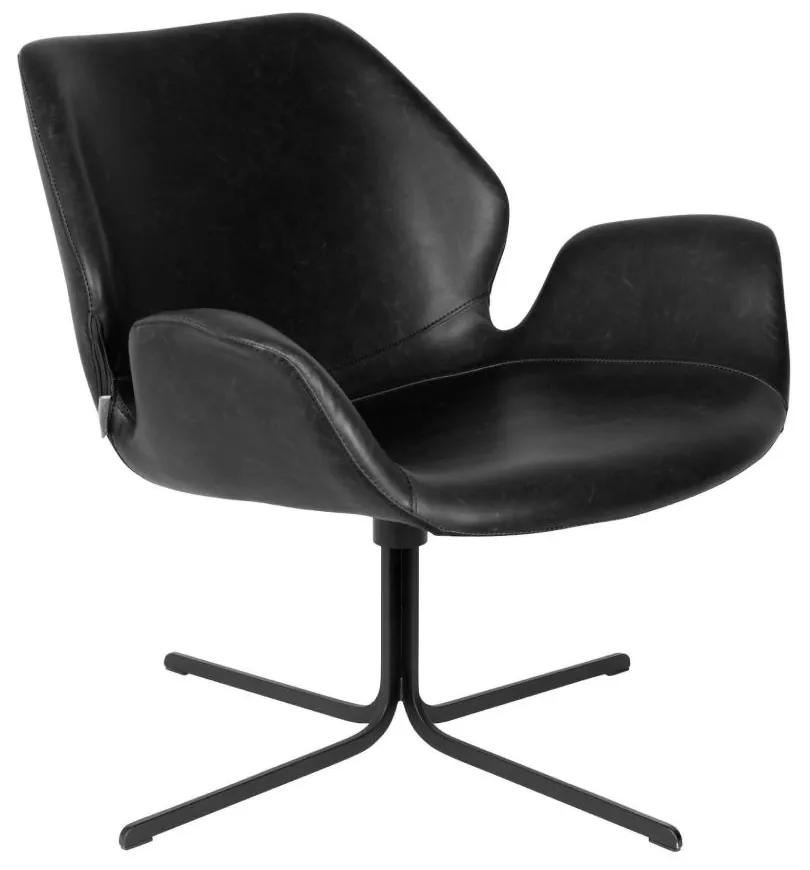 Fotoliu din piele ecologica Lounge Chair Nikki All Black