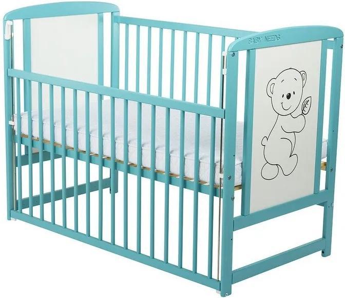 BabyNeeds - Patut din lemn Timmi 120x60 cm, cu laterala culisanta, Mint