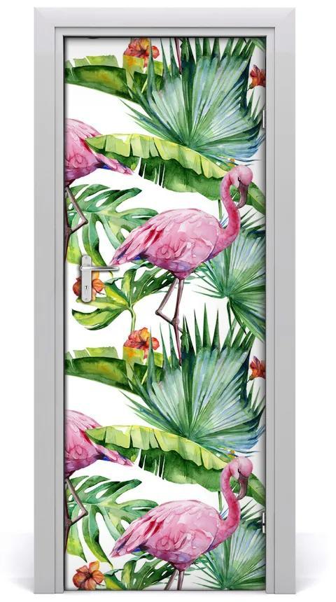 Autocolante pentru usi Frunze și flamingo