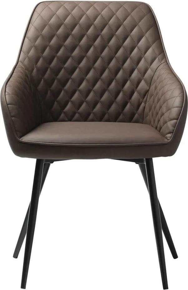 Scaun tapițat cu piele sintetică Unique Furniture Milton, maro