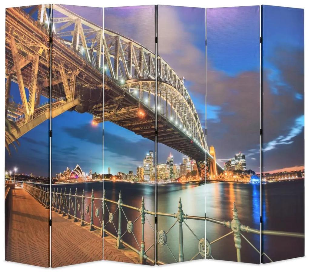 245868 vidaXL Paravan de cameră pliabil, 228 x 170 cm, Sydney Harbour Bridge
