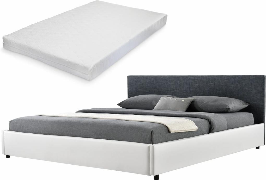 Corium® [my.bed] Pat frantuzesc elegant - cu saltea cu spuma recel - 180x200cm (Partea capului: tesatura negru Rama: imitatie de piele alb) - cu rama pat