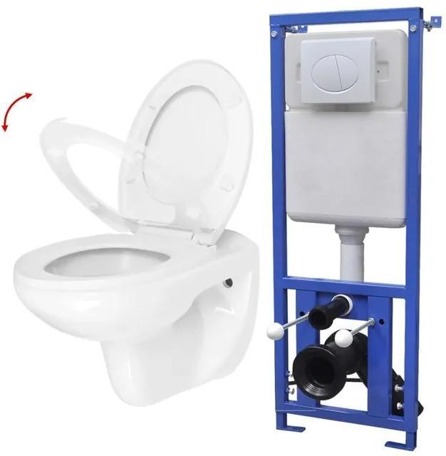 Vas toaletă suspendat cu rezervor încastrat, ceramică, alb