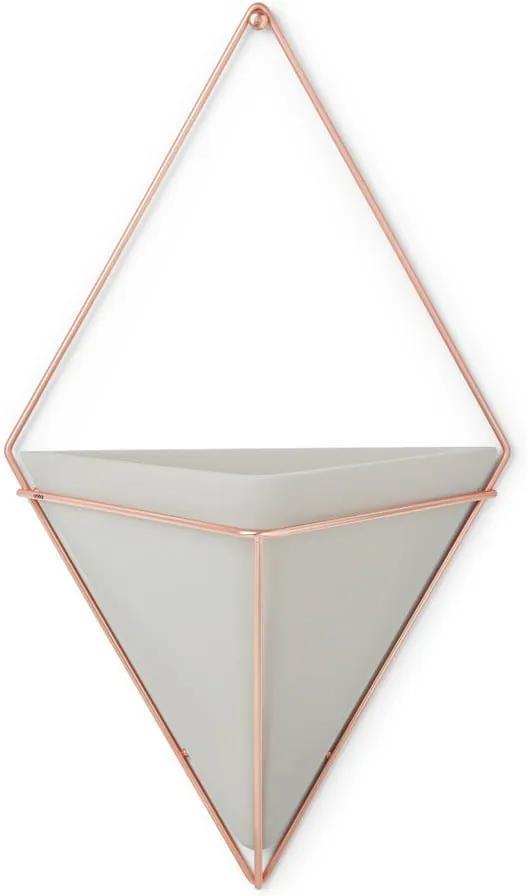 Ghiveci suspendat din ceramică și cadru arămiu Umbra Trigg, lățime 22 cm