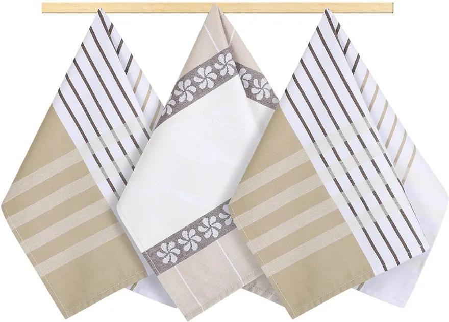 Bellatex Prosop Stripe bej, maro, alb, 50 x 70 cm, set 3 buc.