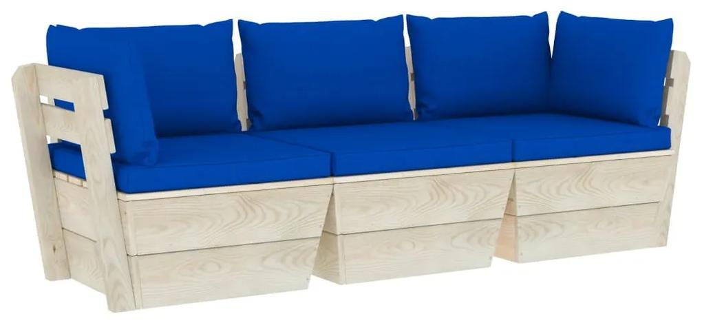 3063406 vidaXL Canapea de grădină din paleți, 3 locuri, cu perne, lemn molid
