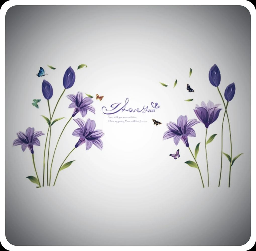 """Autocolant de perete """"Flori violete"""" 160x85cm"""