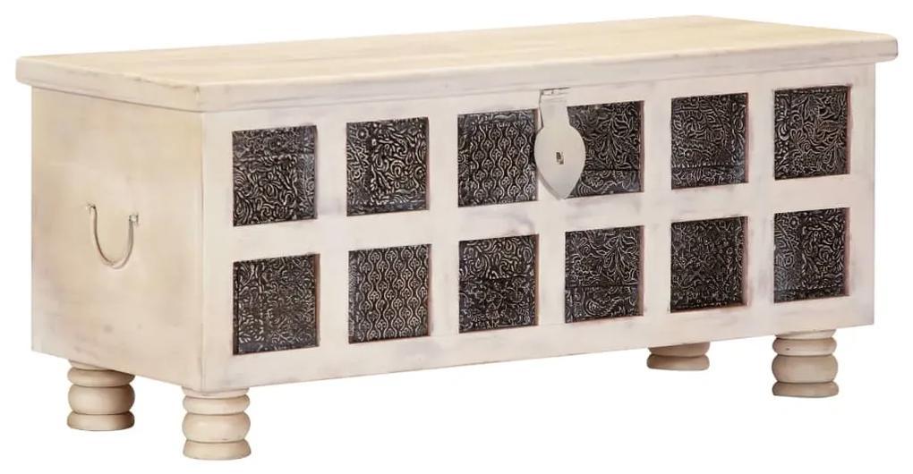 247670 vidaXL Ladă de depozitare, alb, 110x40x45 cm, lemn masiv de acacia