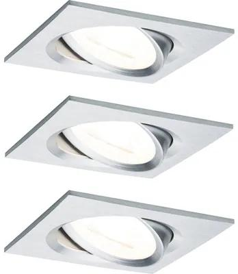 Spoturi incastrabile mobile Nova GU10 6,5W 84x84 mm, becuri LED incluse, nuanta aluminiu, 3 bucati