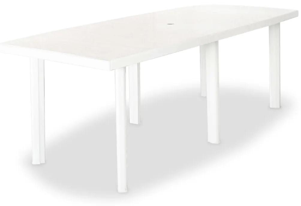 43595 vidaXL Masă de grădină, alb, 210 x 96 x 72 cm, plastic