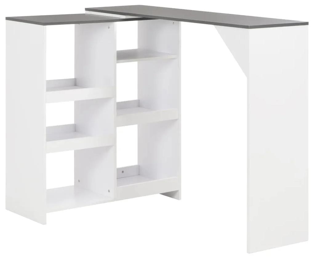 280226 vidaXL Masă de bar cu raft mobil, alb, 138x40x120 cm