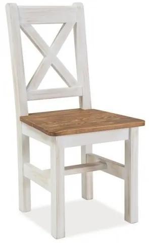Scaun din lemn de pin Poprad Alb / Natural, l45xA46xH96 cm