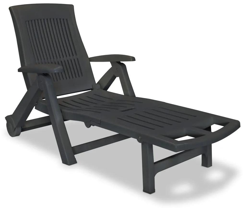 43588 vidaXL Șezlong de plajă cu suport picioare, antracit, plastic