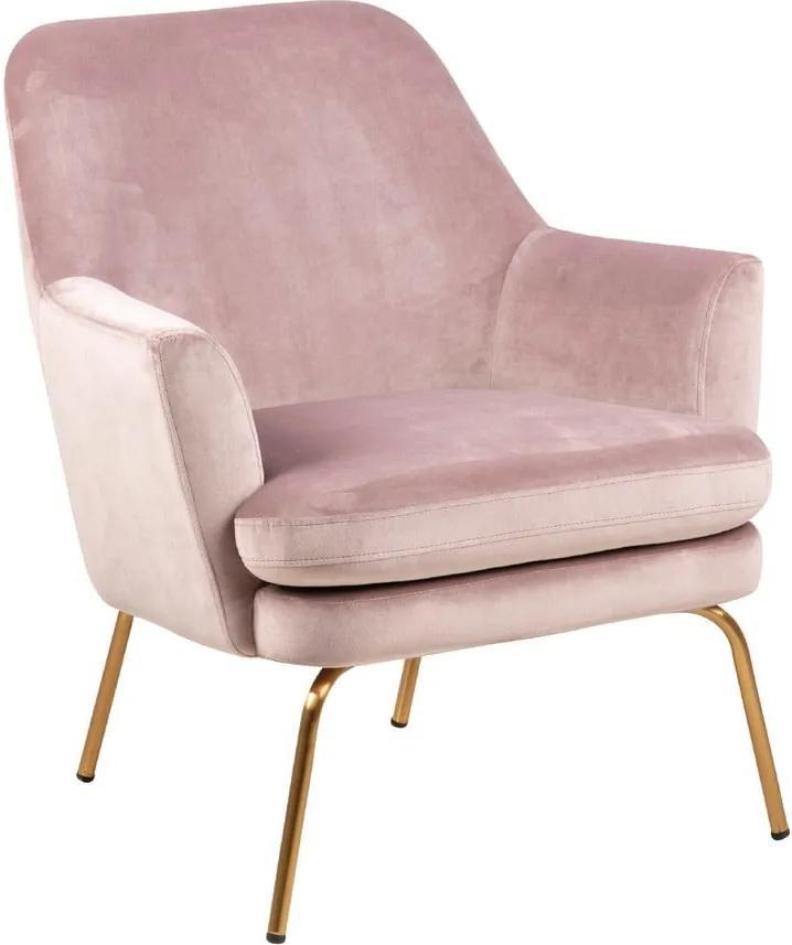 Fotoliu cu husă din catifea și picioare aurii Actona Chisa, roz