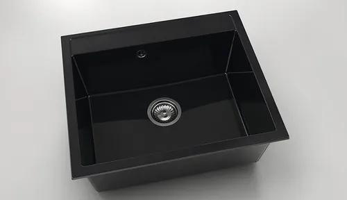 Chiuveta bucatarie FAT Avangard 227, marmura compozita, 60x51 cm, Granit negru