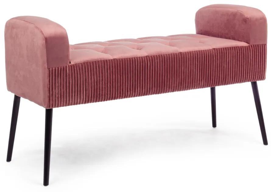 Bancheta din catifea roz Odilon Antique Pink