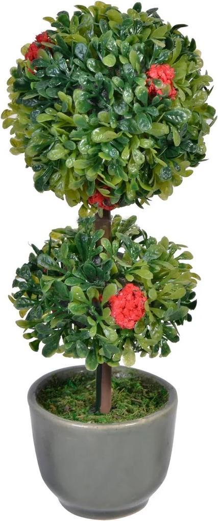 Bonsai doua coroane flori rosii
