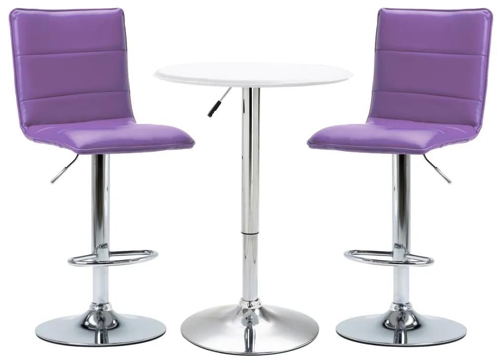 279644 vidaXL Set mobilier de bar, 3 piese, alb, piele ecologică