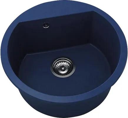 Chiuveta bucatarie rotunda FAT Avangard 223, marmura compozit, Ø 51 cm, Granit albastru