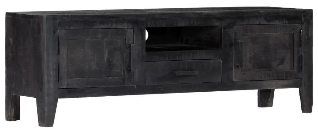 247985 vidaXL Comodă TV, negru, 118 x 30 x 40 cm, lemn masiv de mango