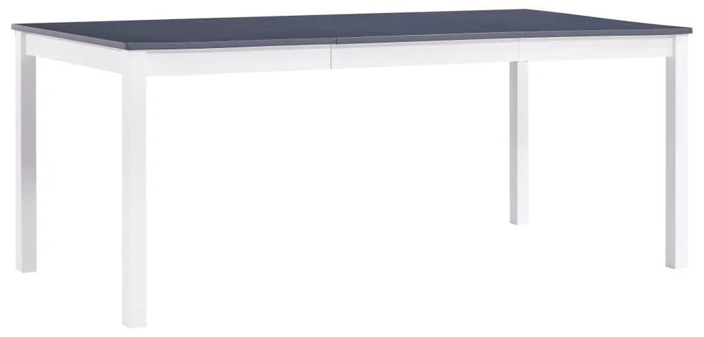 283406 vidaXL Masă de bucătărie, alb și gri, 180 x 90 x 73 cm, lemn de pin