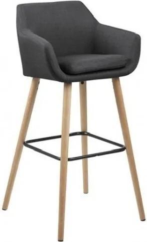 Scaun de bar tapitat cu stofa si picioare din lemn Nora Gri Inchis / Stejar, l55xA54xH101 cm