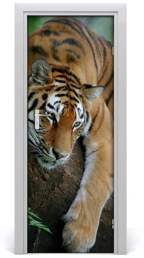 Autocolante pentru usi Tiger pe un copac