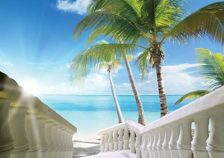 Beach Tropical Sea Palms Fototapet, (104 x 70.5 cm)