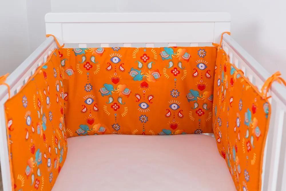Protectie jumatate patut bebe 120 x 60 cm portocalie Jocul Elefantilor
