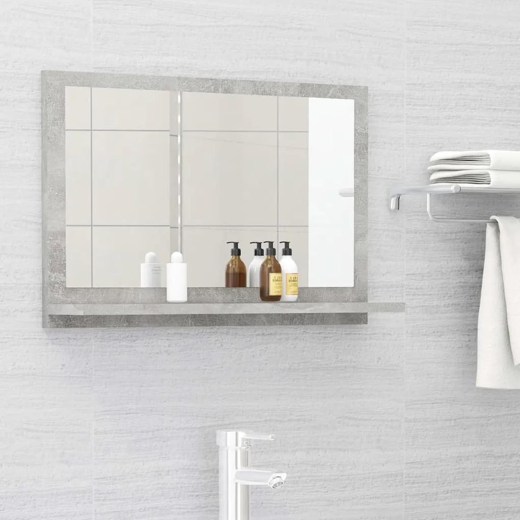 804566 vidaXL Dulap de baie cu oglindă, gri beton, 60 x 10,5 x 37 cm, PAL