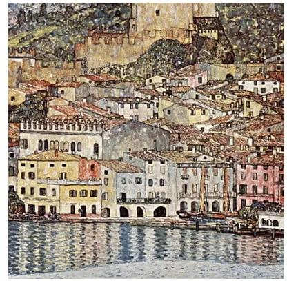 Reproducere pe pânză după Gustav Klimt - Malcesine on Lake Garda, 60 x 60 cm