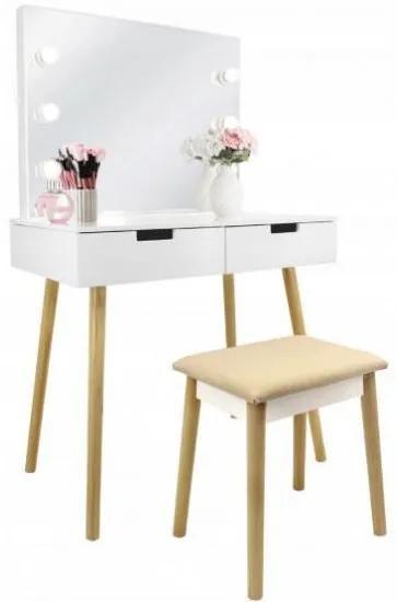 Masa de toaleta/machiaj, alba, cu oglinda si taburet, 80x50x135 cm