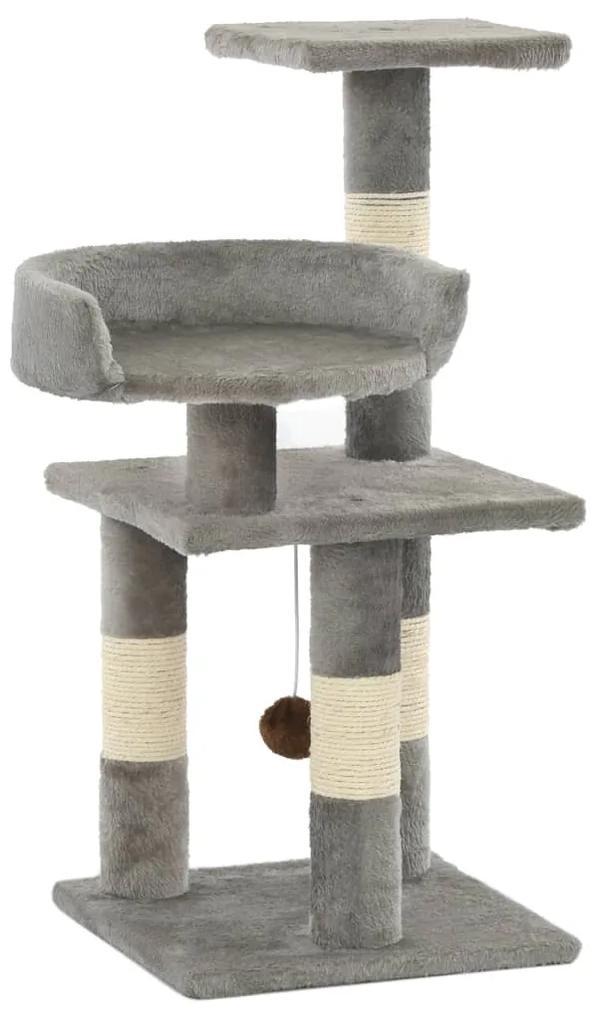 170607 vidaXL Ansamblu pentru pisici, stâlpi din funie de sisal, 65 cm, gri