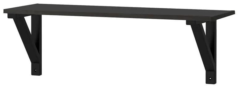 Raft cu suport console, 60x19x22 cm MDF Negru