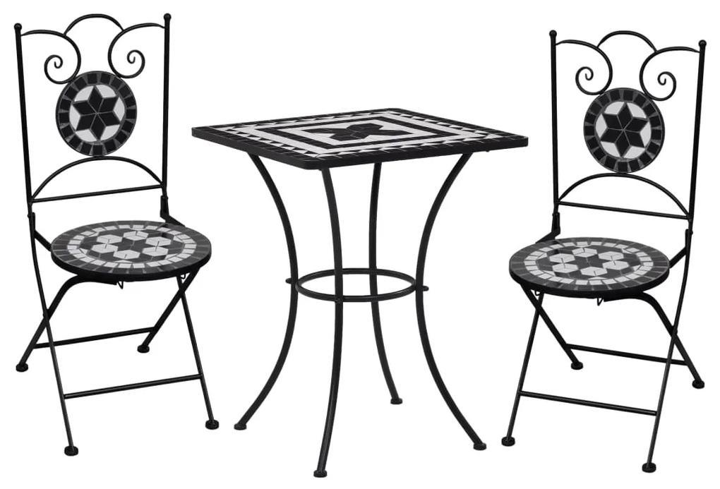 279414 vidaXL Set de bistro mozaic, 3 piese, negru & alb, placă ceramică